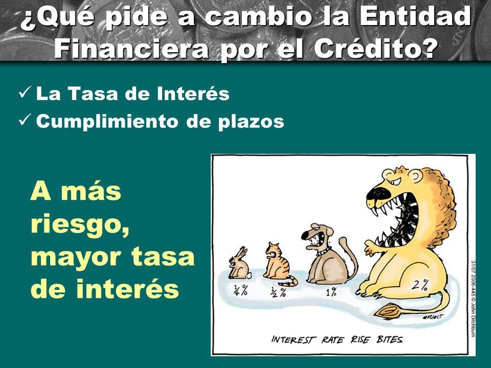 ¿Qué pide a cambio la Entidad Financiera por el Crédito? La Tasa de Interés Cumplimiento de plazos A más riesgo, mayor tasa de interés