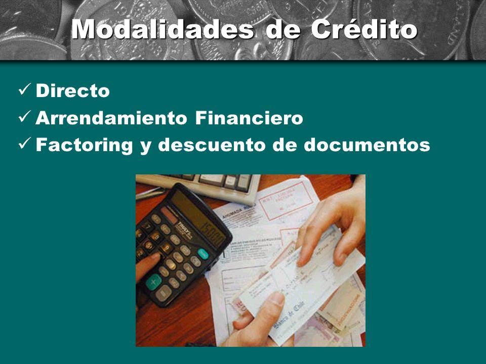 Modalidades de Crédito Directo Arrendamiento Financiero Factoring y descuento de documentos