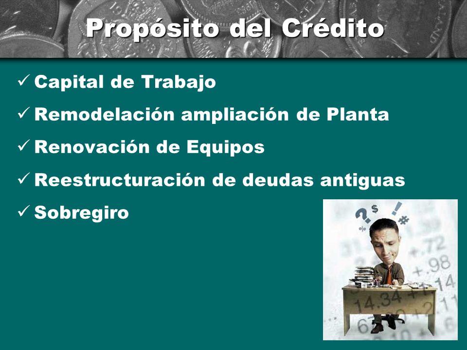 Propósito del Crédito Capital de Trabajo Remodelación ampliación de Planta Renovación de Equipos Reestructuración de deudas antiguas Sobregiro