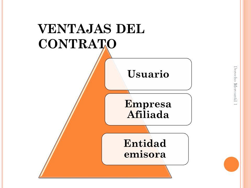 P ARA EL USUARIO : Comodidad de adquirir bienes y servicios sin necesidad de llevar dinero en efectivo.