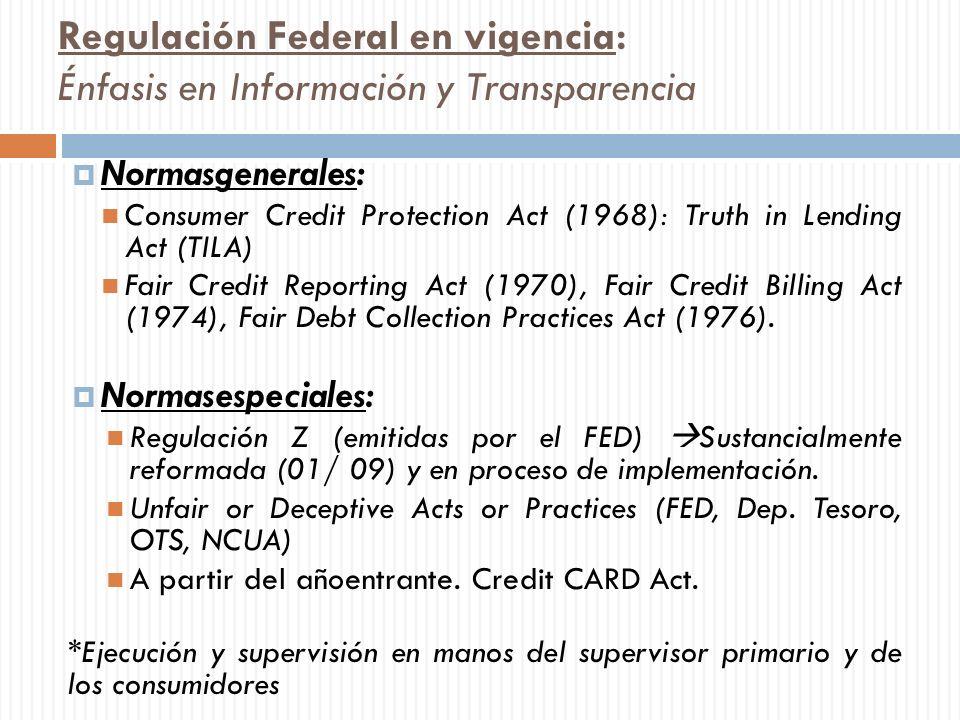 Regulación Federal en vigencia: Énfasis en Información y Transparencia Normasgenerales: Consumer Credit Protection Act (1968): Truth in Lending Act (T