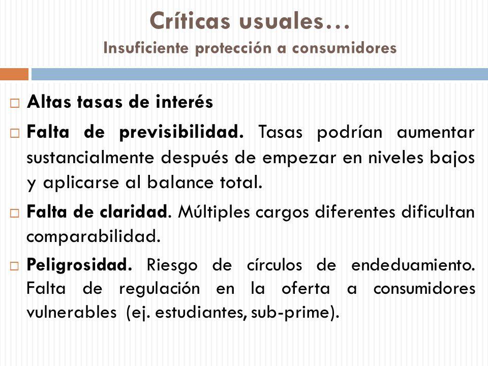 Críticas usuales… Insuficiente protección a consumidores Altas tasas de interés Falta de previsibilidad. Tasas podrían aumentar sustancialmente despué