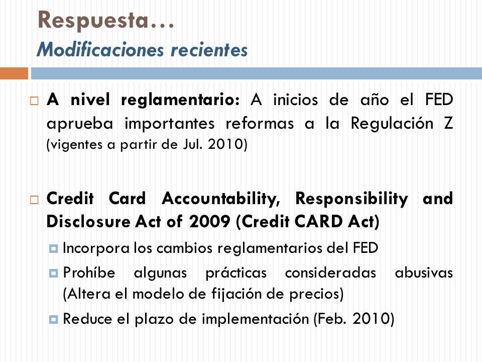 Respuesta… Modificaciones recientes A nivel reglamentario: A inicios de año el FED aprueba importantes reformas a la Regulación Z (vigentes a partir d