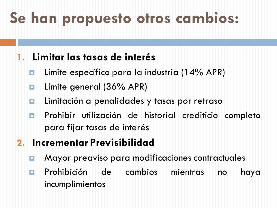 Se han propuesto otros cambios: 1. Limitar las tasas de interés Límite específico para la industria (14% APR) Límite general (36% APR) Limitación a pe