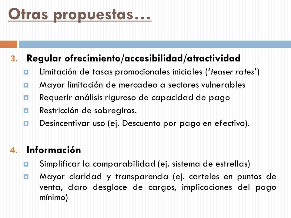 Otras propuestas… 3. Regular ofrecimiento/accesibilidad/atractividad Limitación de tasas promocionales iniciales (teaser rates) Mayor limitación de me