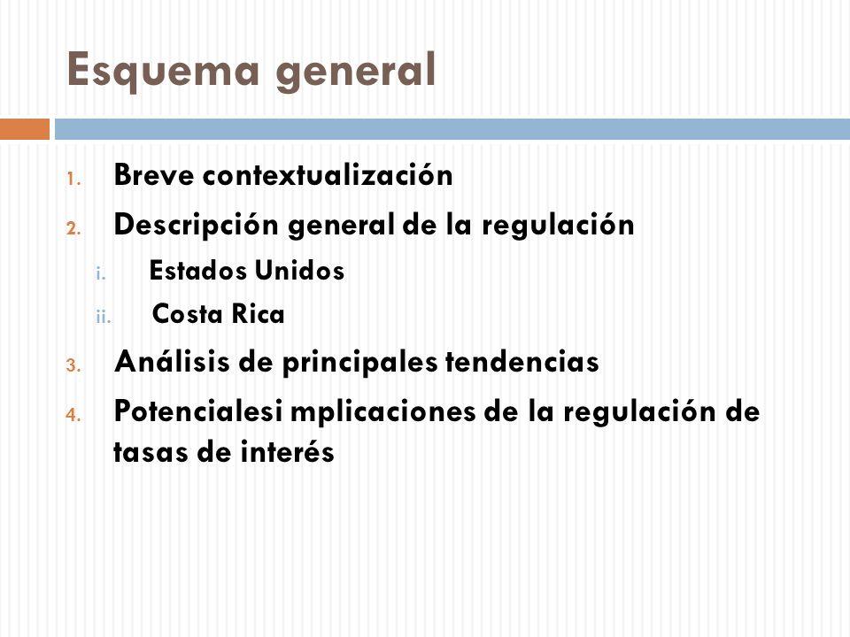 Esquema general 1. Breve contextualización 2. Descripción general de la regulación i. Estados Unidos ii. Costa Rica 3. Análisis de principales tendenc
