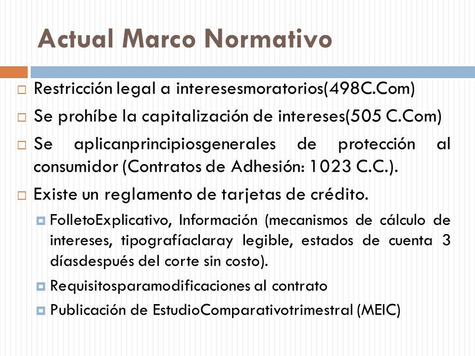 Actual Marco Normativo Restricción legal a interesesmoratorios(498C.Com) Se prohíbe la capitalización de intereses(505 C.Com) Se aplicanprincipiosgene