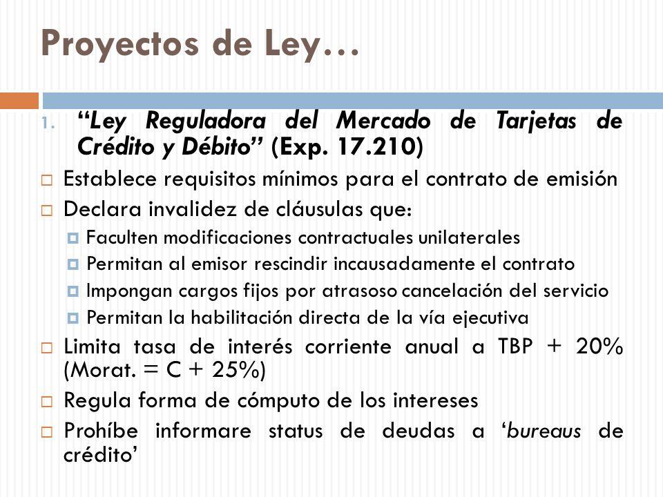 Proyectos de Ley… 1.Ley Reguladora del Mercado de Tarjetas de Crédito y Débito (Exp. 17.210) Establece requisitos mínimos para el contrato de emisión