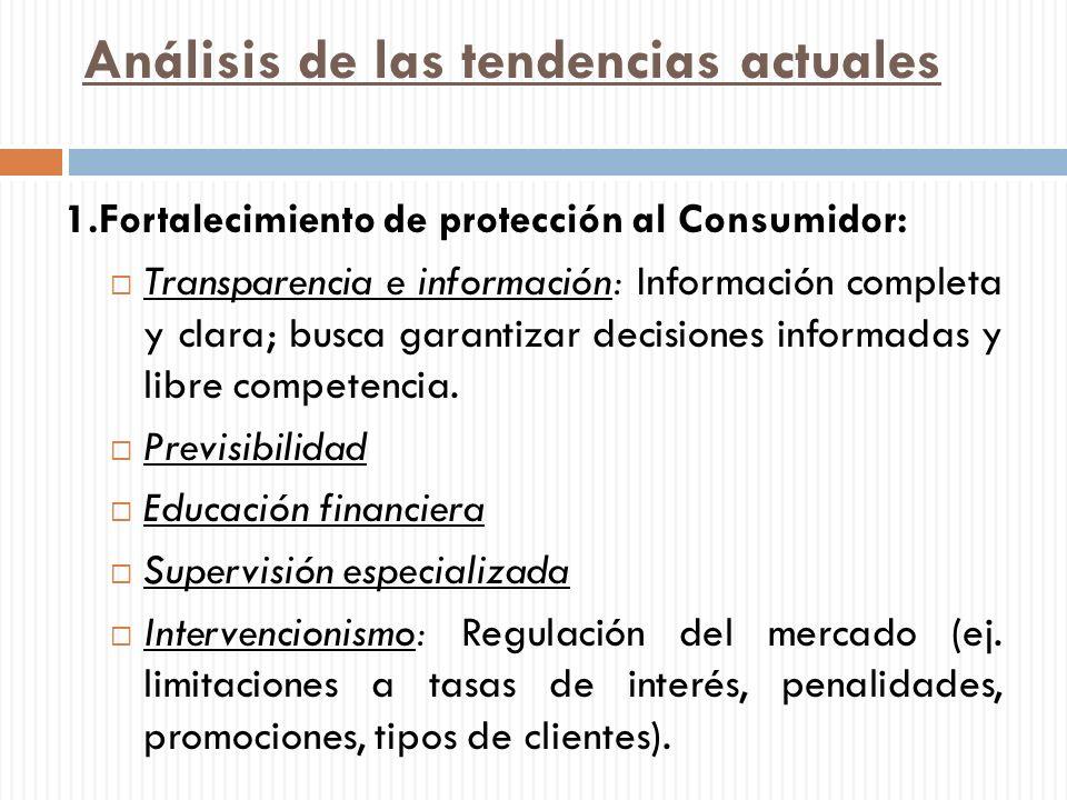 Análisis de las tendencias actuales 1.Fortalecimiento de protección al Consumidor: Transparencia e información: Información completa y clara; busca ga