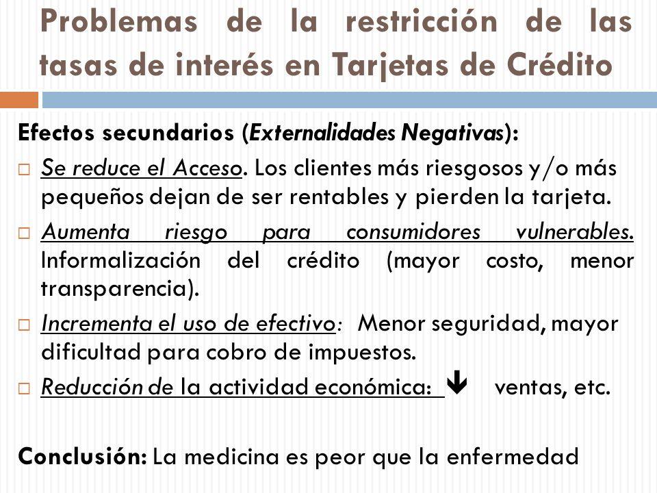 Problemas de la restricción de las tasas de interés en Tarjetas de Crédito Efectos secundarios (Externalidades Negativas): Se reduce el Acceso. Los cl