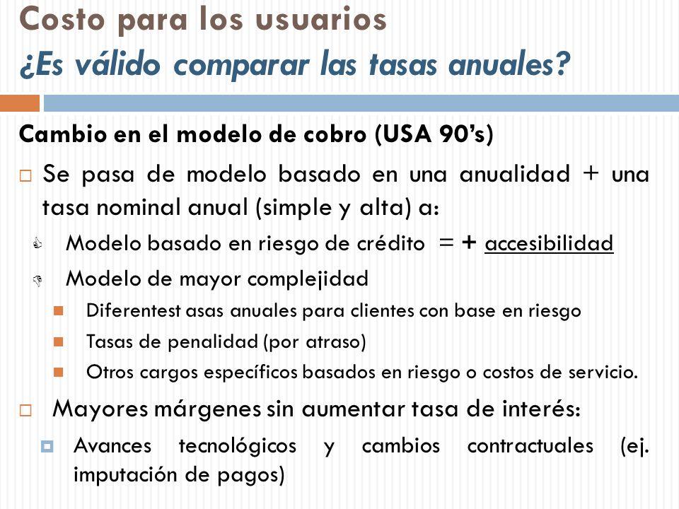 Costo para los usuarios ¿Es válido comparar las tasas anuales? Cambio en el modelo de cobro (USA 90s) Se pasa de modelo basado en una anualidad + una