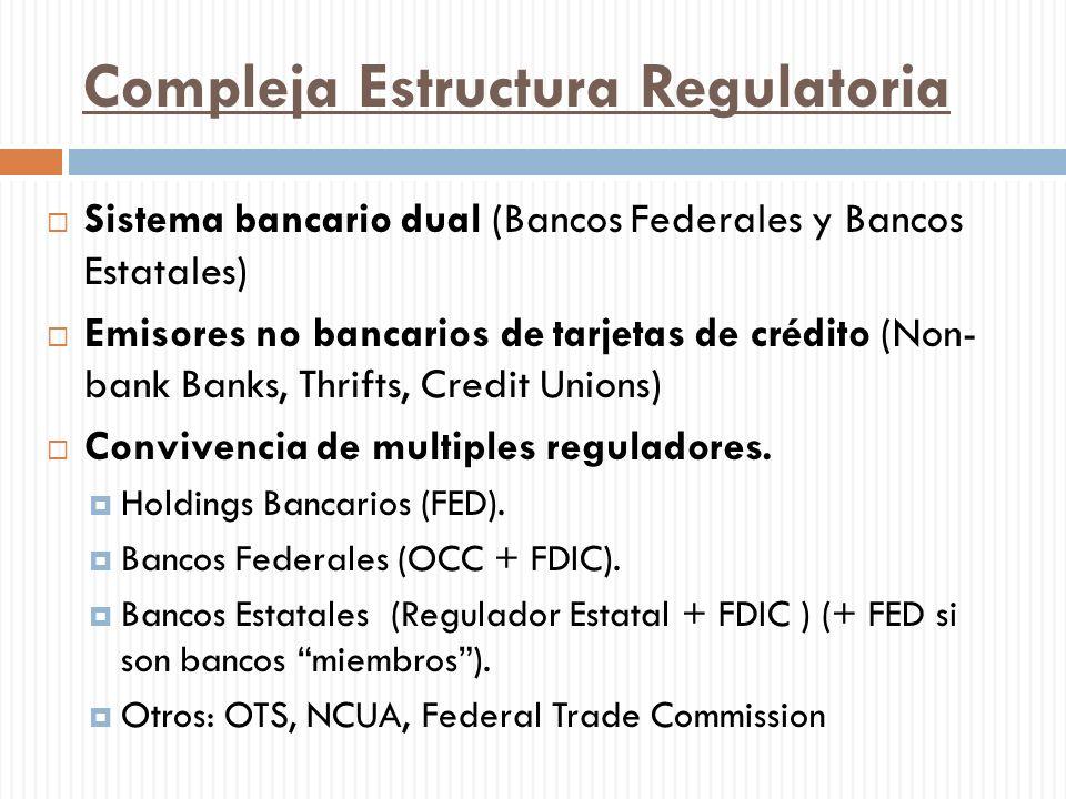 Compleja Estructura Regulatoria Sistema bancario dual (Bancos Federales y Bancos Estatales) Emisores no bancarios de tarjetas de crédito (Non- bank Ba