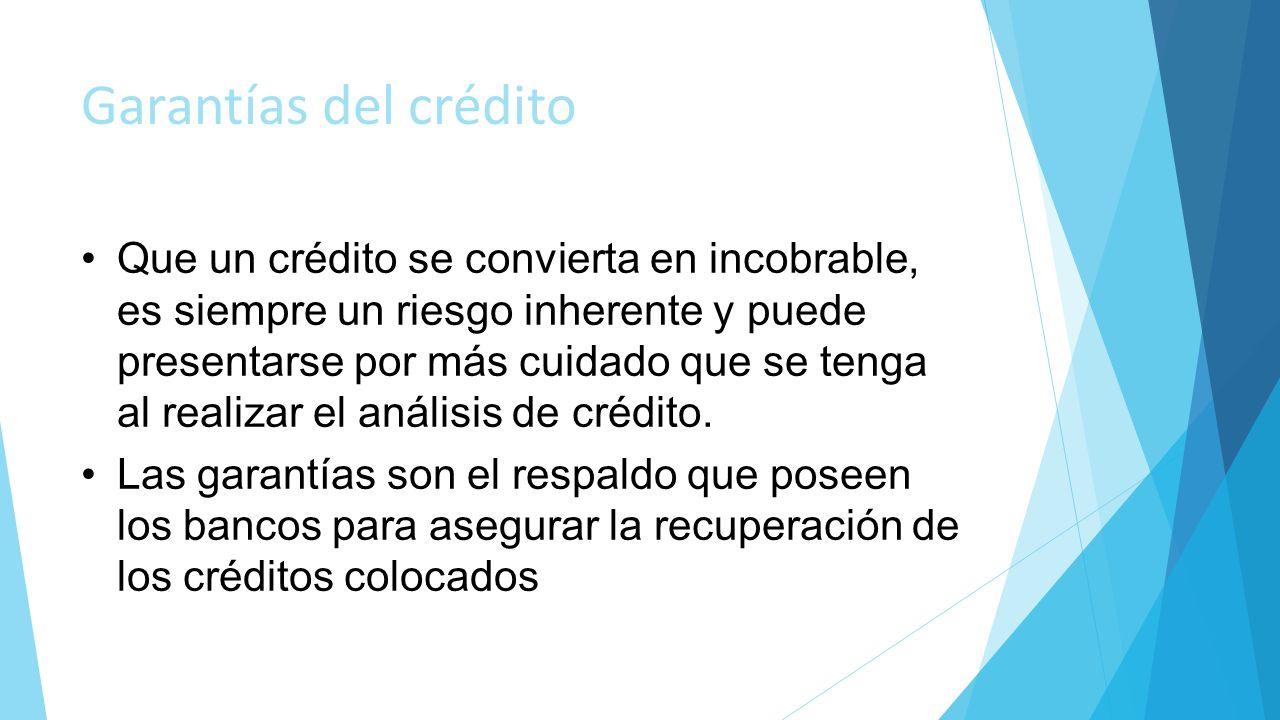 Garantías del crédito Que un crédito se convierta en incobrable, es siempre un riesgo inherente y puede presentarse por más cuidado que se tenga al re
