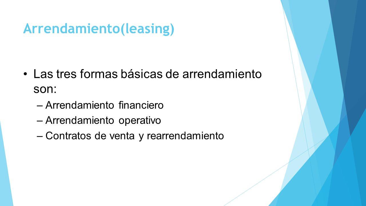 Arrendamiento(leasing) Las tres formas básicas de arrendamiento son: –Arrendamiento financiero –Arrendamiento operativo –Contratos de venta y rearrend