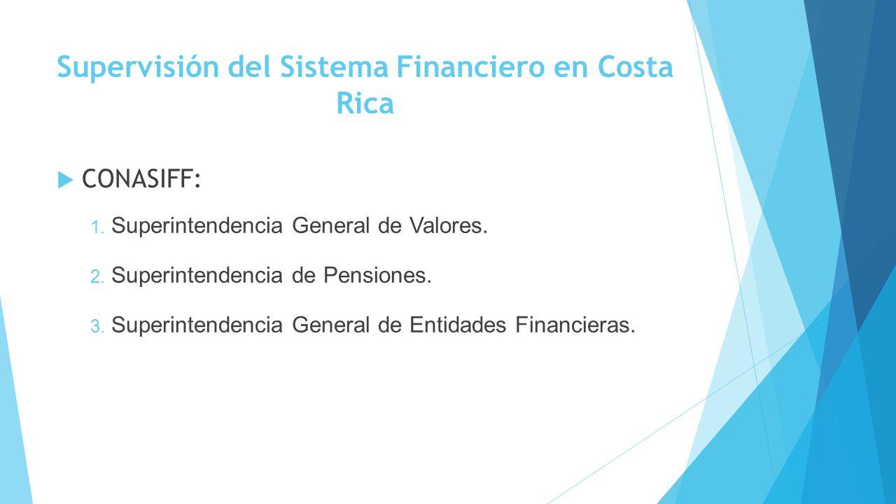 Supervisión del Sistema Financiero en Costa Rica: Banco Central de Costa Rica Controlar la inflación Realizar labores conjuntamente con el CONASIFF para cumplir con sus objetivos Se encarga también de la emisión y administración de los billetes y monedas Entre otras tareas
