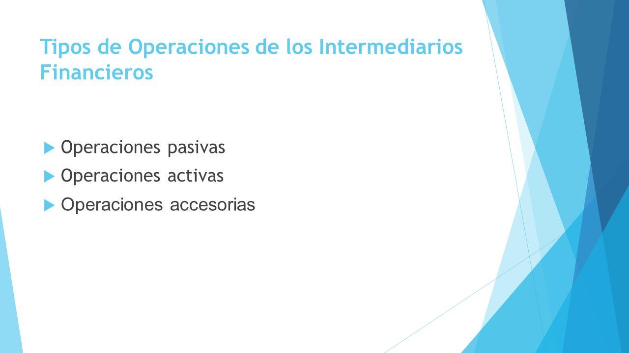 Tipos de Operaciones de los Intermediarios Financieros Operaciones pasivas Operaciones activas Operaciones accesorias