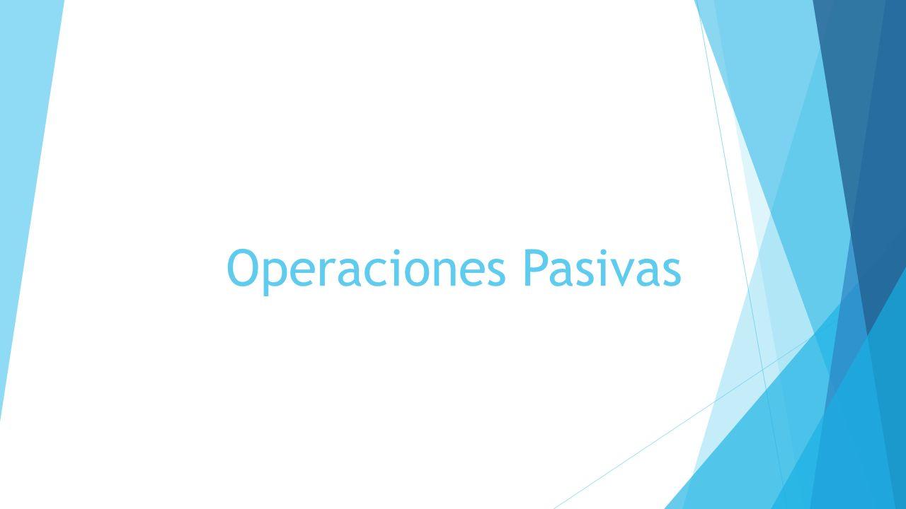 Operaciones Activas Son aquellas que permiten colocar recursos en el mercado financiero, obtenidos mediante la captación de recursos (operaciones pasivas)