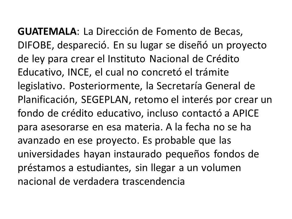 GUATEMALA: La Dirección de Fomento de Becas, DIFOBE, despareció.