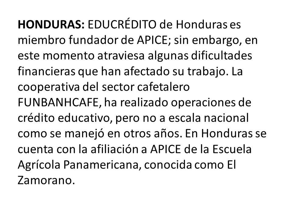 HONDURAS: EDUCRÉDITO de Honduras es miembro fundador de APICE; sin embargo, en este momento atraviesa algunas dificultades financieras que han afectado su trabajo.