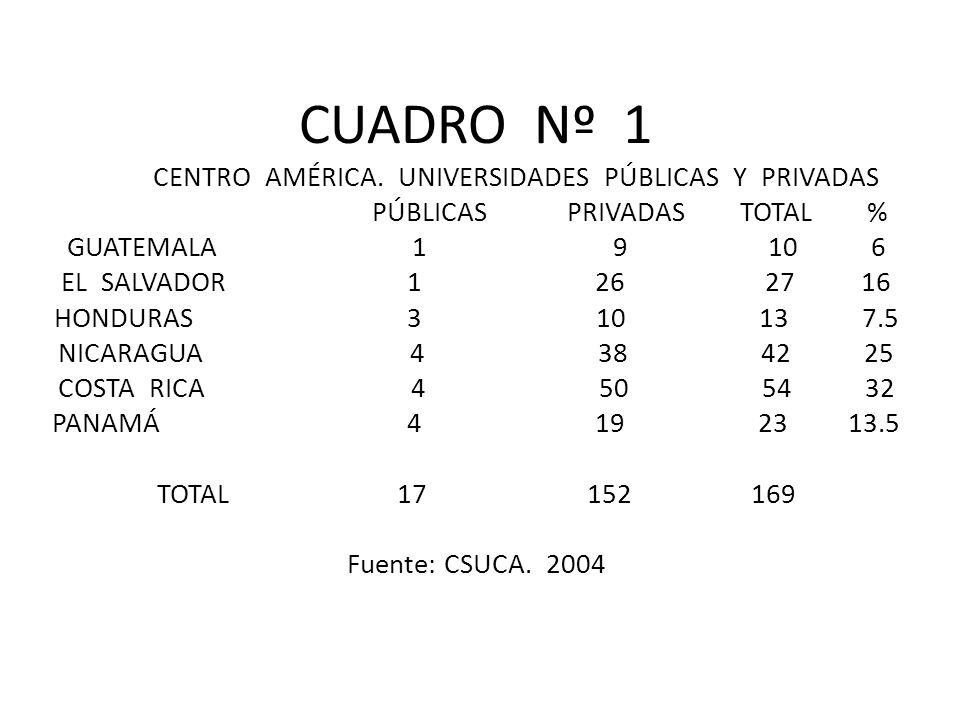 CUADRO Nº 1 CENTRO AMÉRICA.