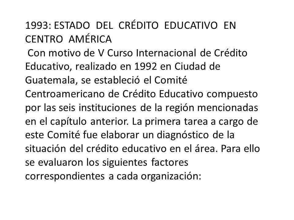1993: ESTADO DEL CRÉDITO EDUCATIVO EN CENTRO AMÉRICA Con motivo de V Curso Internacional de Crédito Educativo, realizado en 1992 en Ciudad de Guatemala, se estableció el Comité Centroamericano de Crédito Educativo compuesto por las seis instituciones de la región mencionadas en el capítulo anterior.