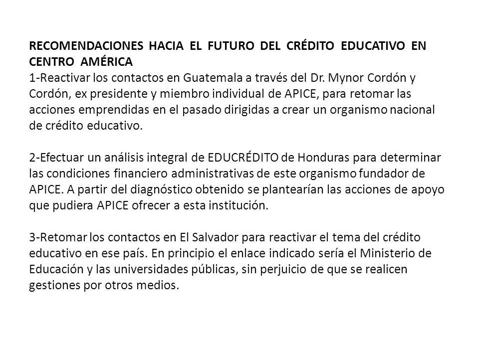 RECOMENDACIONES HACIA EL FUTURO DEL CRÉDITO EDUCATIVO EN CENTRO AMÉRICA 1-Reactivar los contactos en Guatemala a través del Dr.