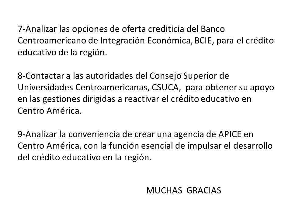 7-Analizar las opciones de oferta crediticia del Banco Centroamericano de Integración Económica, BCIE, para el crédito educativo de la región.