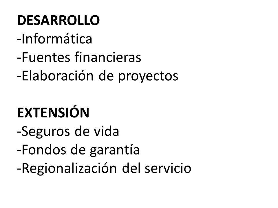 DESARROLLO -Informática -Fuentes financieras -Elaboración de proyectos EXTENSIÓN -Seguros de vida -Fondos de garantía -Regionalización del servicio