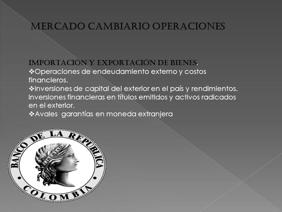 MERCADO CAMBIARIO OPERACIONES IMPORTACIÓN Y EXPORTACIÓN DE BIENES.