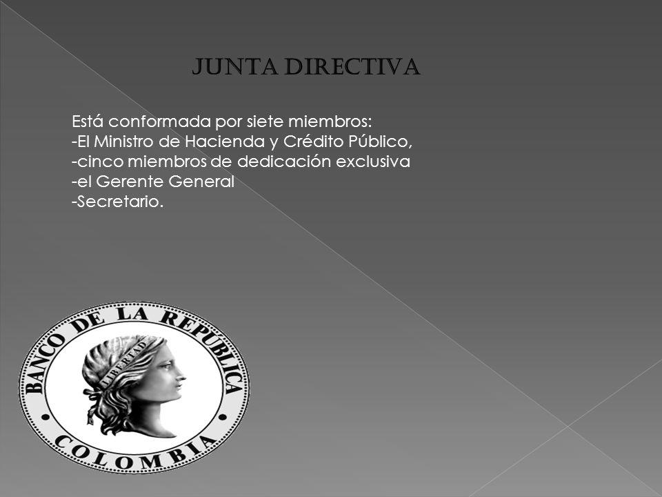 JUNTA DIRECTIVA Está conformada por siete miembros: -El Ministro de Hacienda y Crédito Público, -cinco miembros de dedicación exclusiva -el Gerente General -Secretario.