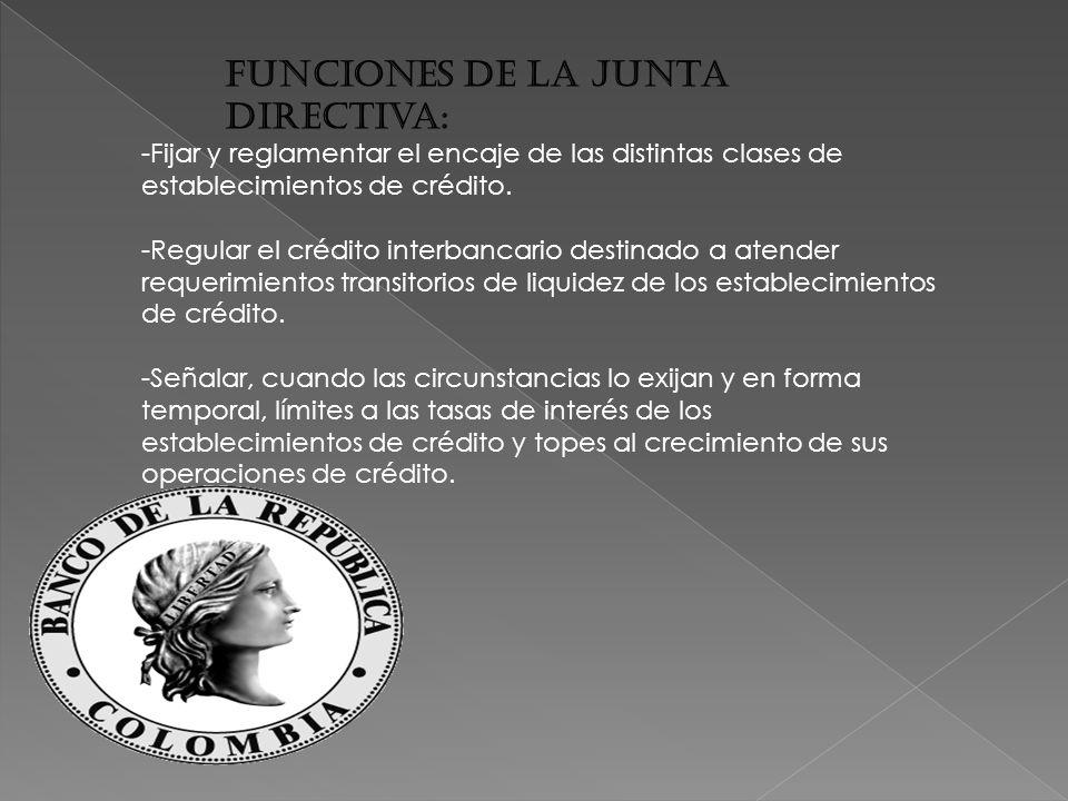 Funciones de la Junta Directiva: -Fijar y reglamentar el encaje de las distintas clases de establecimientos de crédito.