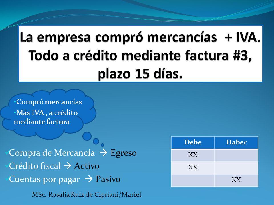 Compró mercancías Más IVA, a crédito mediante factura Compra de Mercancía Egreso Crédito fiscal Activo Cuentas por pagar Pasivo DebeHaber XX MSc. Rosa
