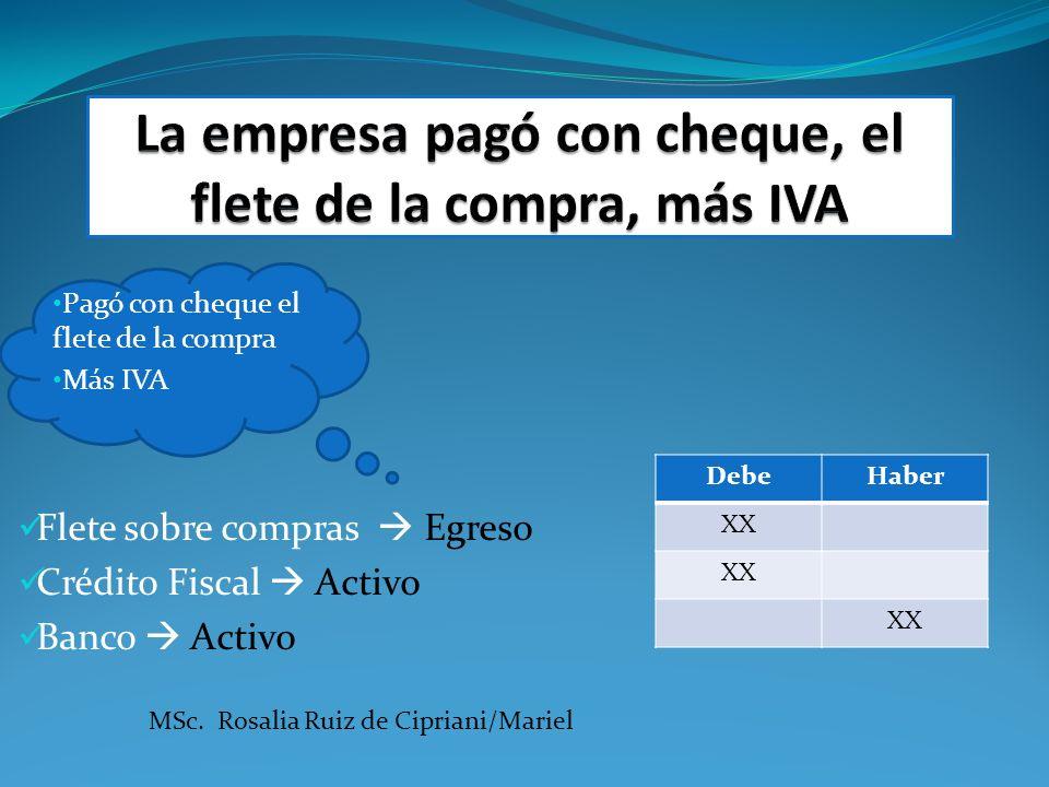 Pagó con cheque el flete de la compra Más IVA Flete sobre compras Egreso Crédito Fiscal Activo Banco Activo DebeHaber XX MSc. Rosalia Ruiz de Cipriani