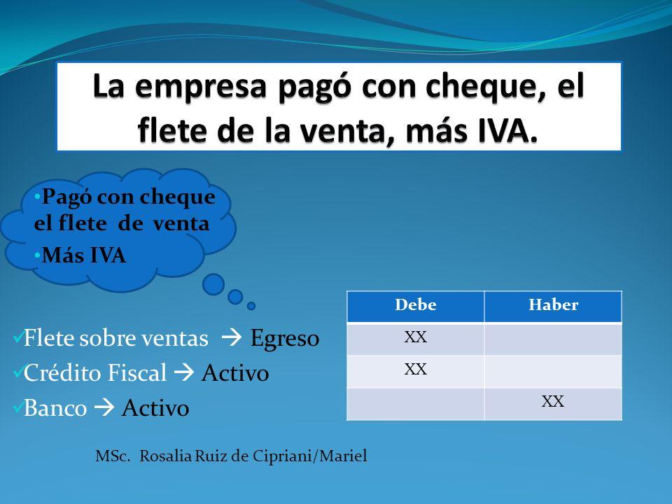 Pagó con cheque el flete de venta Más IVA Flete sobre ventas Egreso Crédito Fiscal Activo Banco Activo DebeHaber XX MSc. Rosalia Ruiz de Cipriani/Mari