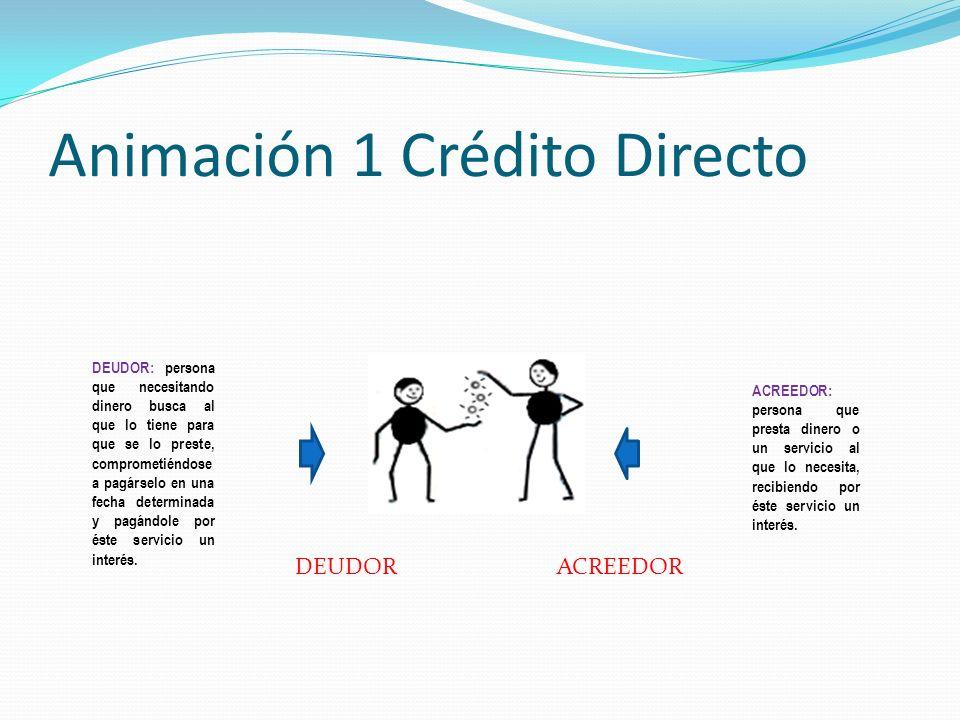 Animación 1 Crédito Directo DEUDOR: persona que necesitando dinero busca al que lo tiene para que se lo preste, comprometiéndose a pagárselo en una fe
