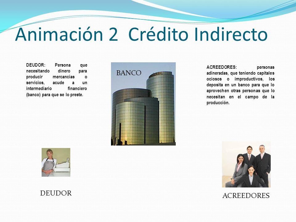 Animación 3 Crédito Indirecto El deudor puede utilizar el dinero prestado para: Establecer un negocio O ampliar el que ya tiene Hacer un viaje Gastos Médicos y Hospitalarios Comprar bienes (autos, casas, etc.)