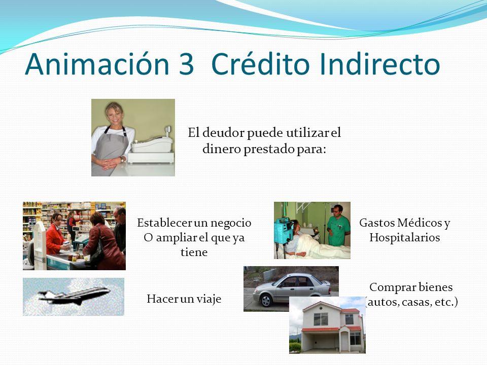 Animación 3 Crédito Indirecto El deudor puede utilizar el dinero prestado para: Establecer un negocio O ampliar el que ya tiene Hacer un viaje Gastos