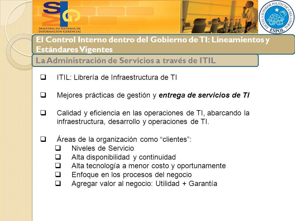 El Control Interno dentro del Gobierno de TI: Lineamientos y Estándares Vigentes La Administración de Servicios a través de ITIL ITIL: Librería de Inf