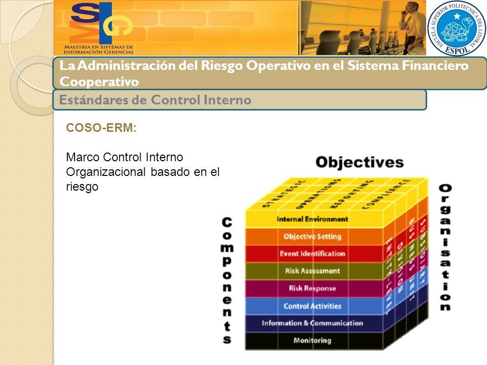 La Administración del Riesgo Operativo en el Sistema Financiero Cooperativo Estándares de Control Interno COSO-ERM: Marco Control Interno Organizacion