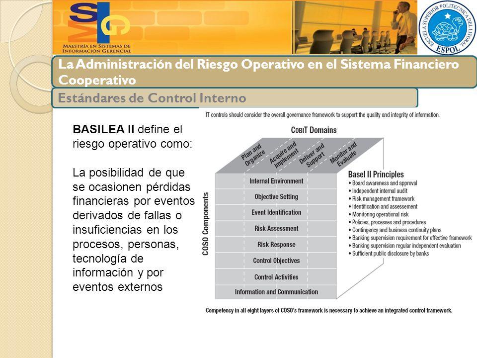 La Administración del Riesgo Operativo en el Sistema Financiero Cooperativo Estándares de Control Interno BASILEA II define el riesgo operativo como: