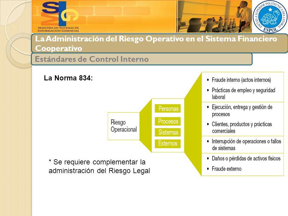 La Administración del Riesgo Operativo en el Sistema Financiero Cooperativo Estándares de Control Interno La Norma 834: * Se requiere complementar la