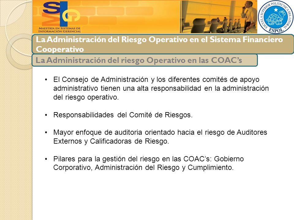 La Administración del Riesgo Operativo en el Sistema Financiero Cooperativo La Administración del riesgo Operativo en las COACs El Consejo de Administ