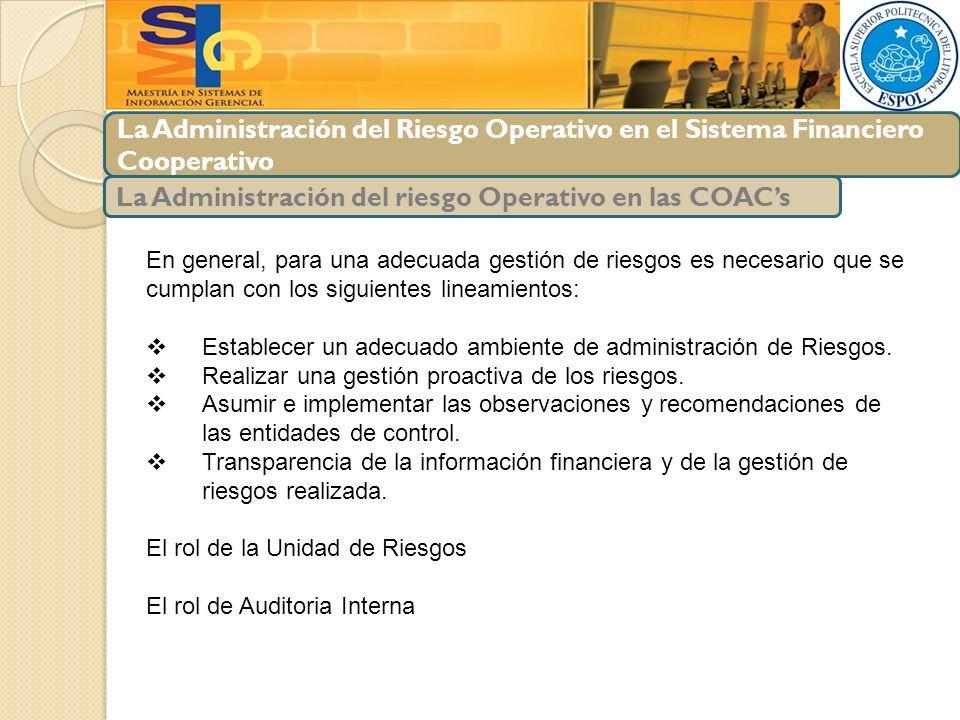 La Administración del Riesgo Operativo en el Sistema Financiero Cooperativo La Administración del riesgo Operativo en las COACs En general, para una a
