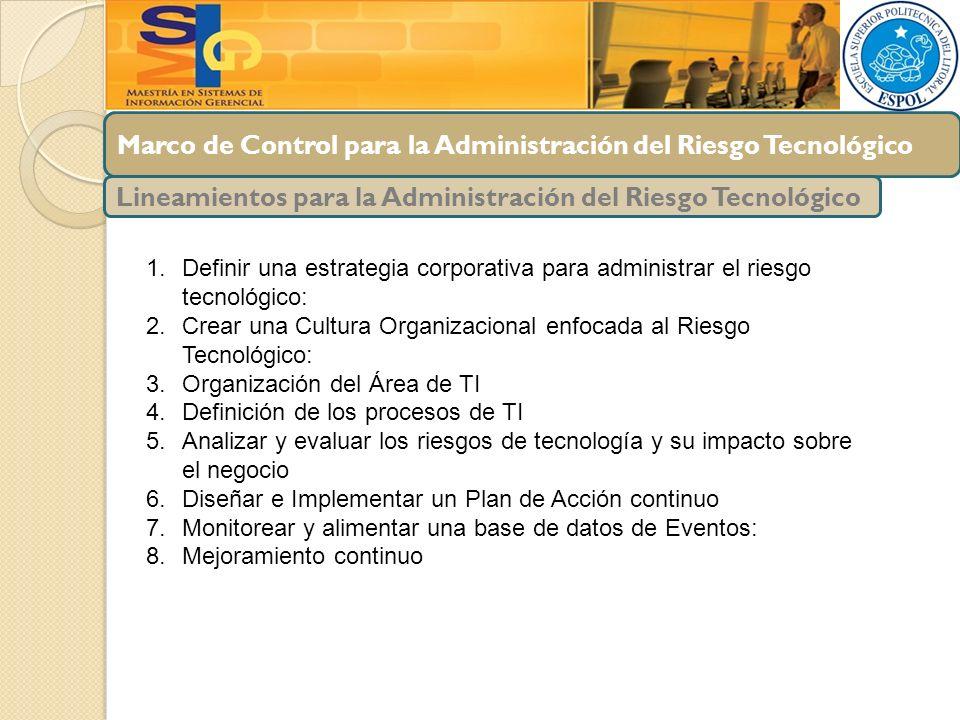 Marco de Control para la Administración del Riesgo Tecnológico Lineamientos para la Administración del Riesgo Tecnológico 1.Definir una estrategia cor