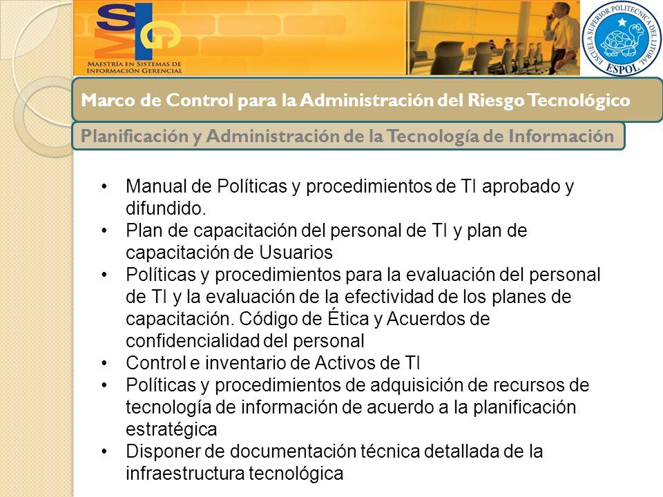 Marco de Control para la Administración del Riesgo Tecnológico Planificación y Administración de la Tecnología de Información Manual de Políticas y pr