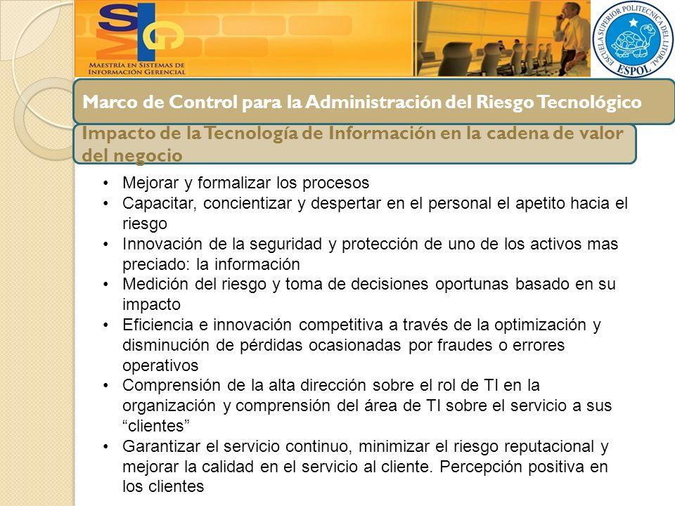 Marco de Control para la Administración del Riesgo Tecnológico Impacto de la Tecnología de Información en la cadena de valor del negocio Mejorar y for