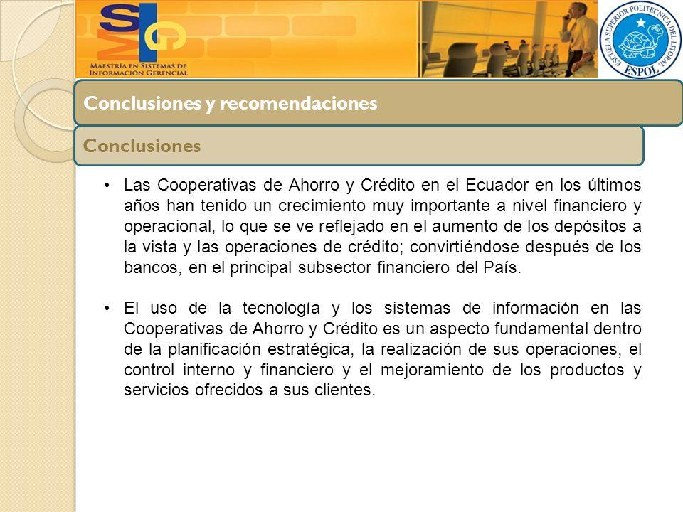 Conclusiones y recomendaciones Conclusiones Las Cooperativas de Ahorro y Crédito en el Ecuador en los últimos años han tenido un crecimiento muy impor