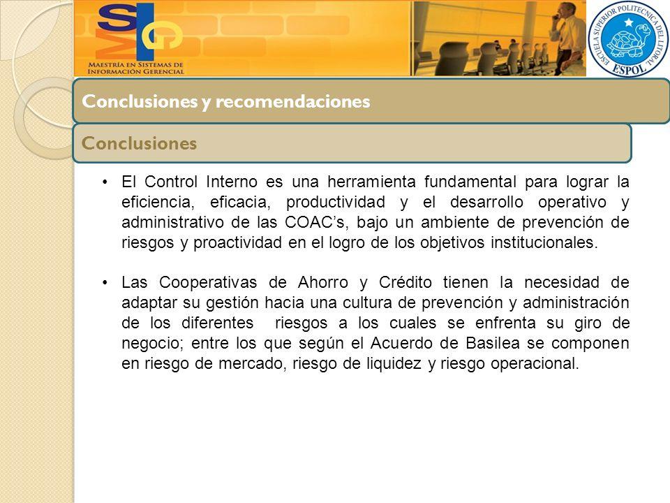 Conclusiones y recomendaciones Conclusiones El Control Interno es una herramienta fundamental para lograr la eficiencia, eficacia, productividad y el