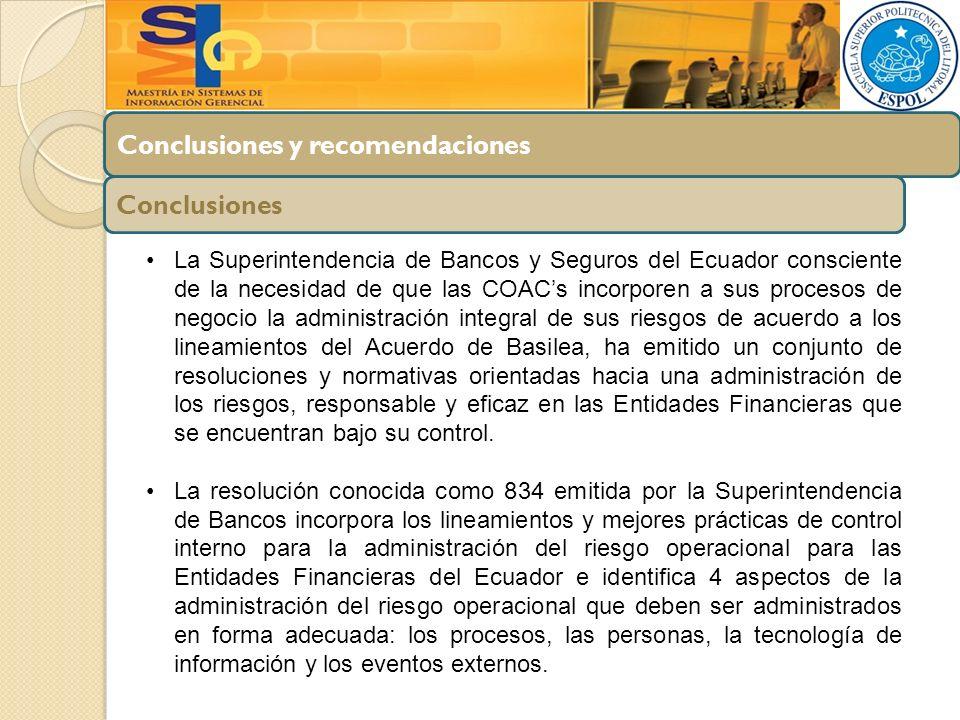 Conclusiones y recomendaciones Conclusiones La Superintendencia de Bancos y Seguros del Ecuador consciente de la necesidad de que las COACs incorporen