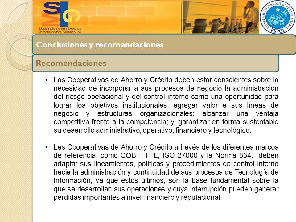 Conclusiones y recomendaciones Recomendaciones Las Cooperativas de Ahorro y Crédito deben estar conscientes sobre la necesidad de incorporar a sus pro